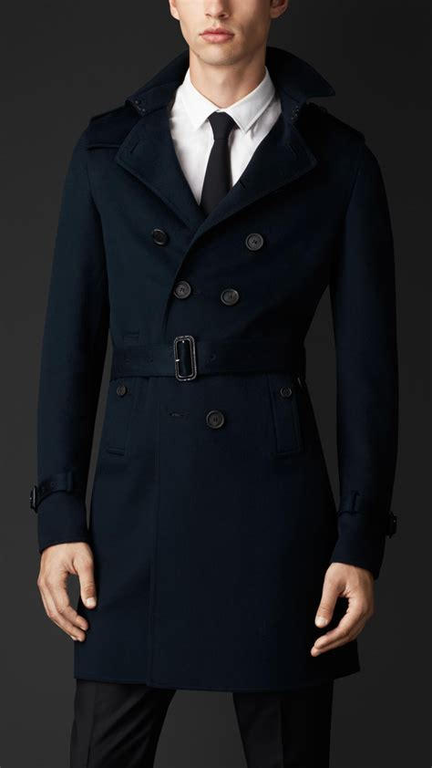 Burberry Double Cashmere Trench Coat in Midnight Blue