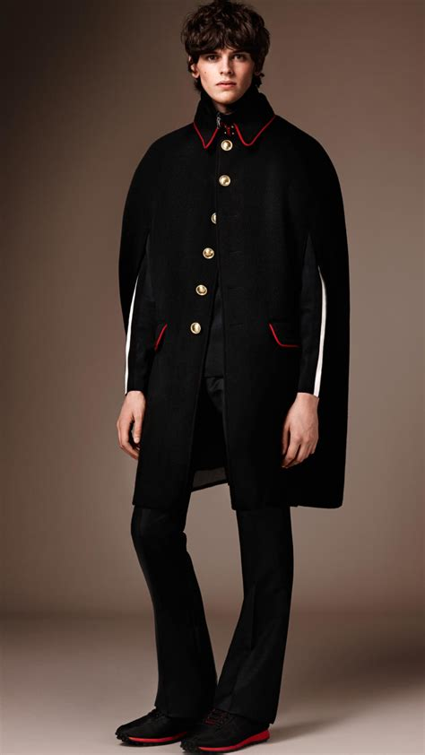Lyst - Burberry Wool Cashmere Military Cape in Black for Men