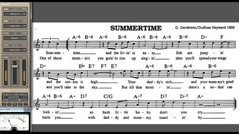 Summertime playalong for Cornet Trumpet Vocal or any Bb