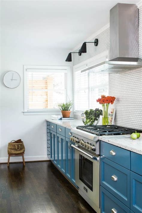 Stylish Galley Kitchen With Bright Blue Cabinetry | HGTV