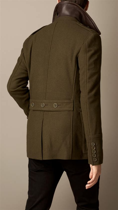 Lyst - Burberry Wool Cashmere Pea Coat in Green for Men