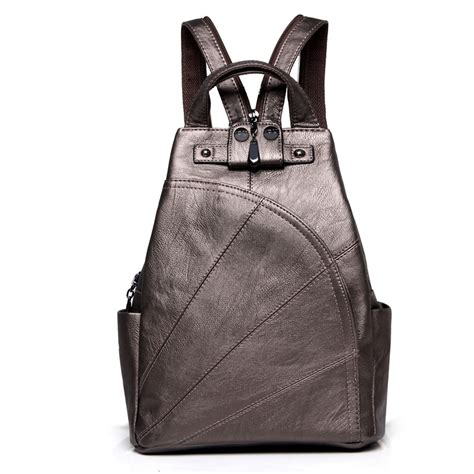 High quality leather backpack college girl small daypacks