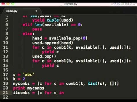 combinations in python - YouTube